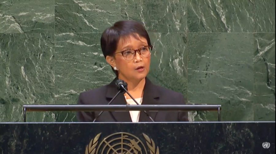 Menlu RI Retno Marsudi saat berbicara dalam Sidang Umum PBB di New York, Amerika Serikat, Kamis (20/5/2021) | Foto: Humas Kemlu RI | Bicara Indonesia