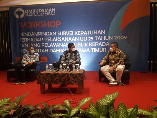 Acara pembukaan workshop pendampingan penilaian kepatuhan UU No 25 Tahun 2009 tentang Pelayanan Publik yang berlangsung di Surabaya, Jawa Timur, Kamis (27/5/2021) | dok. Ombudsman RI