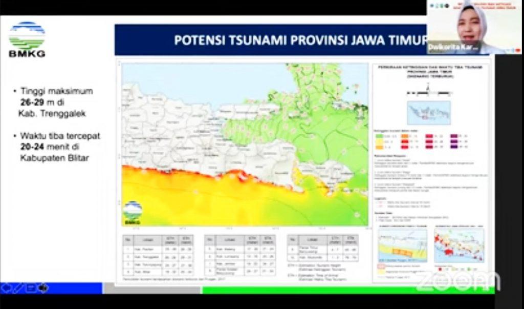Tangkapan layar, webinar Kajian Mitigasi Gempa Bumi dan Tsunami pada Jumat, (28/5/2021).