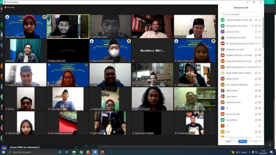 Webinar Nasional oleh PMII Rayon Dakwah dan Komunikasi Komisariat UIN Sunan Ampel Cabang Surabaya, Rabu (29/7/2021)   dok/photo: tangkapan layar /Bicaraindonesia