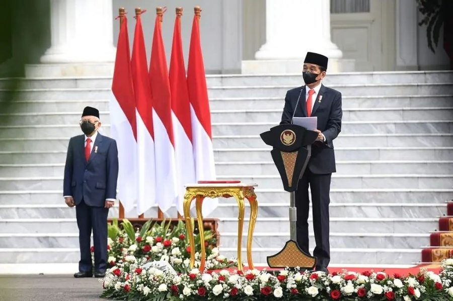 Presiden Jokowi memimpin Upacara Peringatan Ke-76 Hari TNI, di Halaman Istana Merdeka, Jakarta, Selasa (05/10/2021)   dok/photo: Setkab